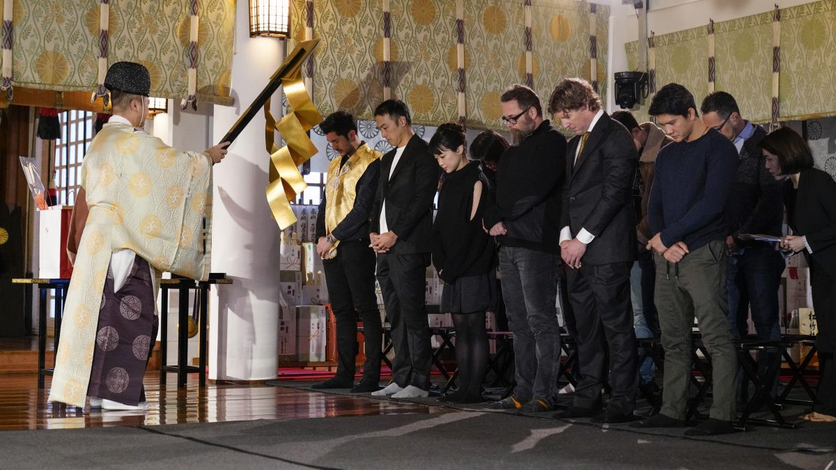 TOKYO, JAPAN - JANUARY 10: SNAKE EYES talent receive a traditional blessing at Hie- Jinja Shrine ahead of beginning shooting in Tokyo. (Photo by Christopher Jue/Getty Images for Paramount Pictures)