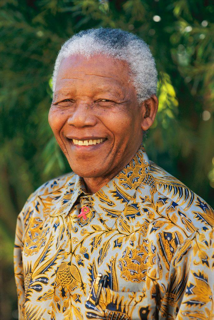 A portrait of Nelson Mandela.