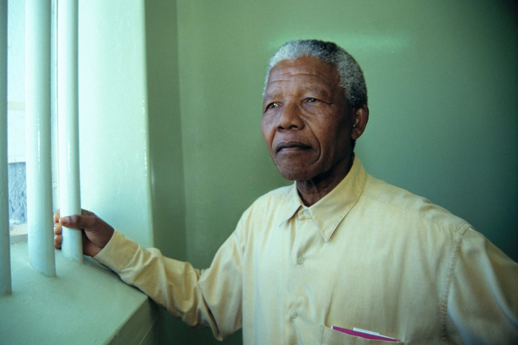 In 1994 Nelson Mandela revisited the cell at Robben Island prison where he was jailed for more than two decades.