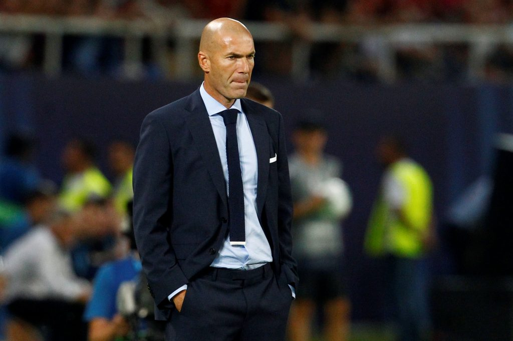 Soccer Football - Real Madrid v Manchester United - Super Cup Final - Skopje, Macedonia - August 8, 2017   Real Madrid coach Zinedine Zidane    REUTERS/Ognen Teofilovski