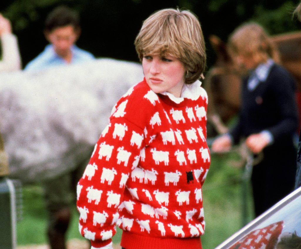 Diana, Princess of Wales (1961 - 1997) wearing 'Black sheep' wool jumper by Warm and Wonderful (Muir & Osborne) to Windsor Polo, 1980. (Photo by Tim Graham Photo Library via Getty Images)